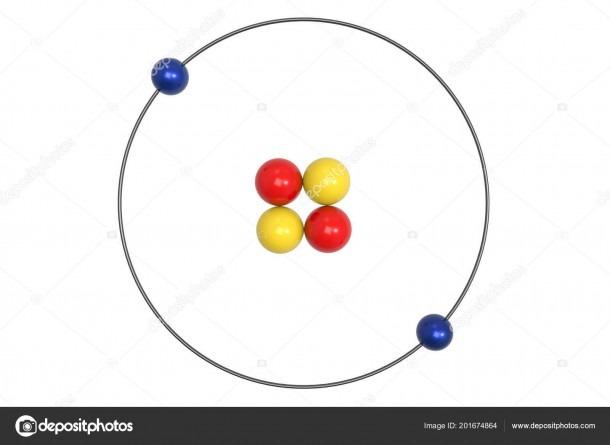 Helium Atom Bohr Model Proton Neutron Electron Illustration
