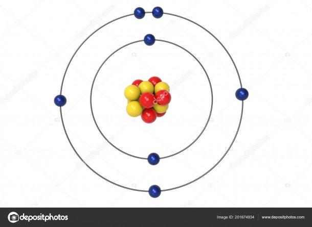 Nitrogen Atom Bohr Model Proton Neutron Electron Illustration