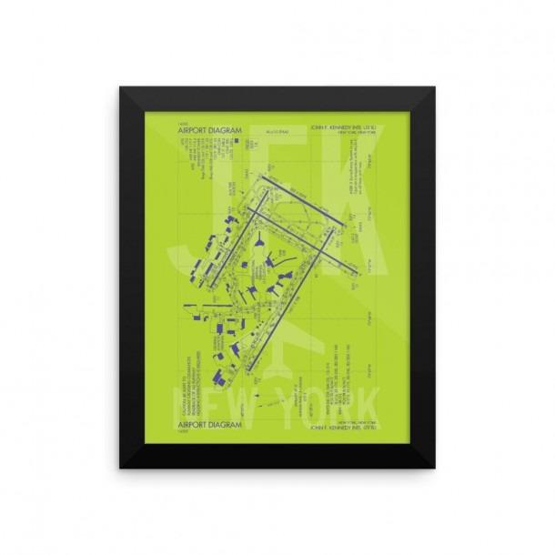 Jfk New York Airport Diagram Framed Poster