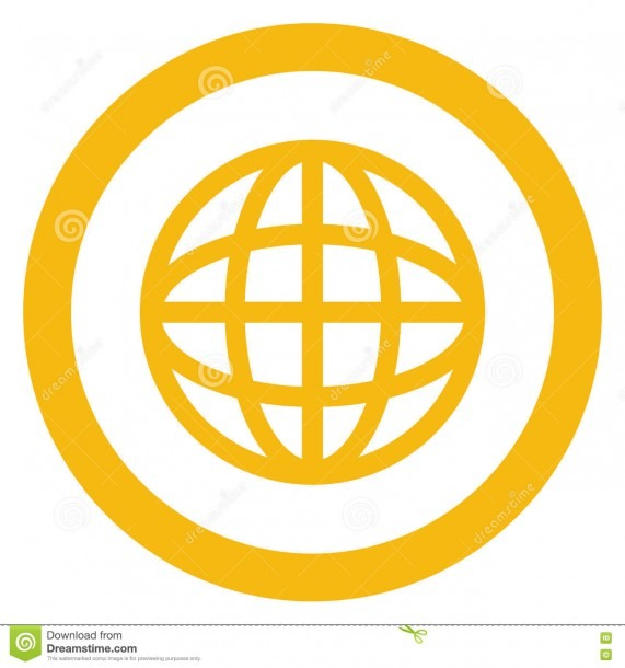 Earth Globe Diagram Inside Circle Icon Stock Illustration