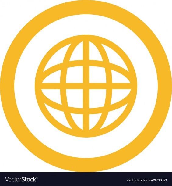 Earth Globe Diagram Inside Circle Icon Royalty Free Vector