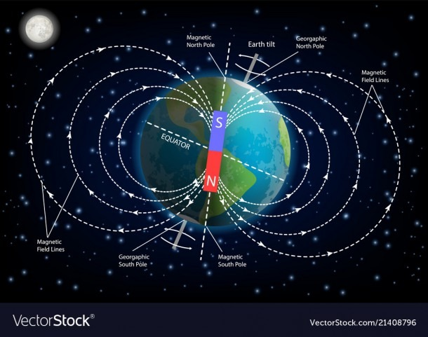 Earth Magnetic Field Diagram Royalty Free Vector Image