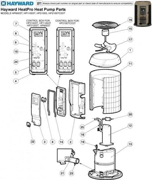 Hayward Heatpro Heat Pump Parts Models Hp6003t, Hp11003t