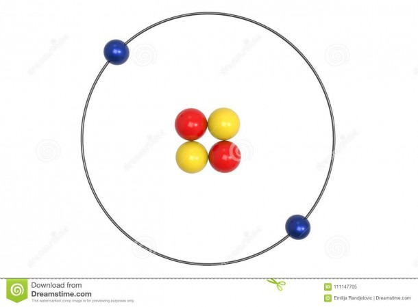 Helium Atom Bohr Model With Proton, Neutron And Electron Stock