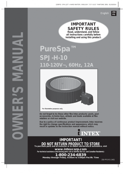 Intex Purespa 77  Jet Massage Spa 2014 User Manual