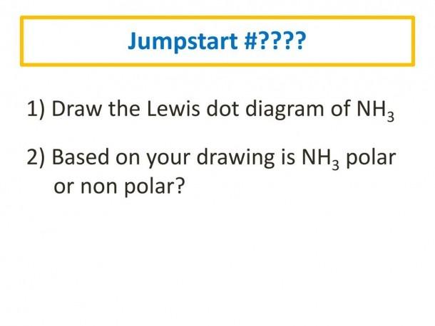 Jumpstart       1) Draw The Lewis Dot Diagram Of Nh3