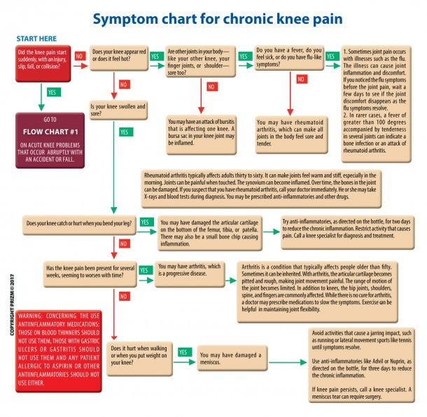 Knee Pain Symptoms Chart