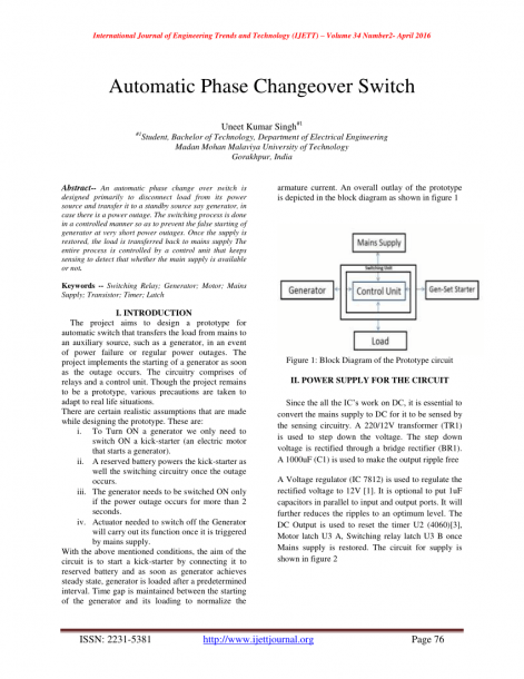 Pdf) Automatic Phase Changeover Switch