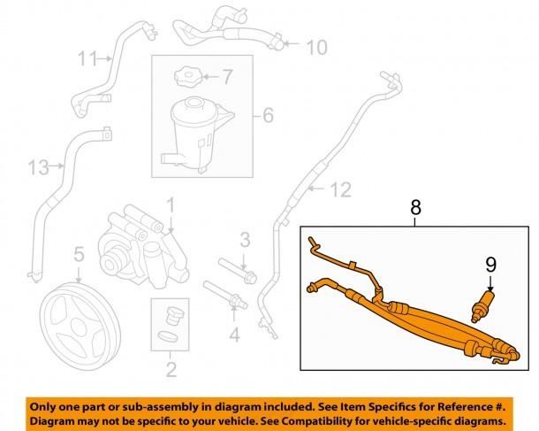 Ford Oem Power Steering Pressure Hose 9l3z