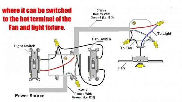 Wire Two Switches Ceiling Fan With Diagram