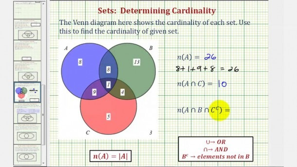 Ex  Determine Cardinality Of Various Sets Given A Venn Diagram Of