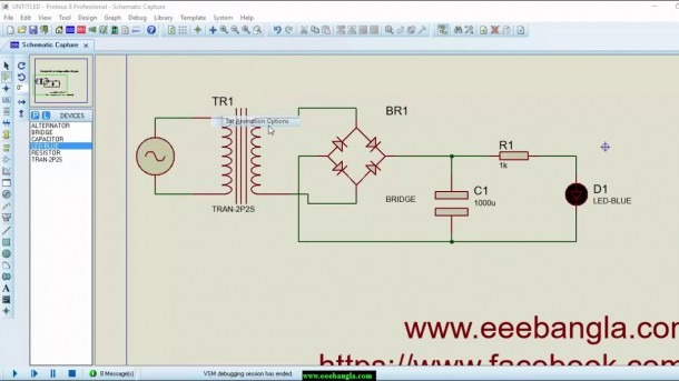 Simulate Full Wave Bridge Rectifier With Proteus