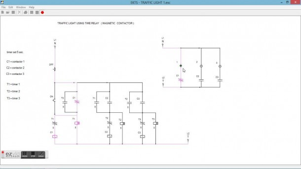 Traffic Light Diagram Using Time Relay & Magnetic Contactor