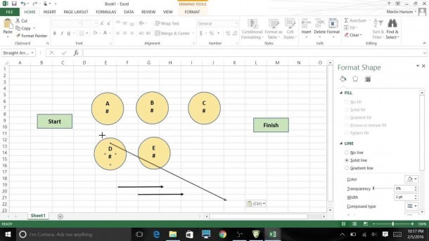 Using Excel 2013 Graphic Tools To Create Network Diagrams