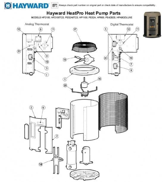 Hayward Heatpro Heat Pump Parts Models Hp2100, Hp2100tc0
