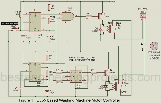 Motor Controller Circuit For Washing Machine
