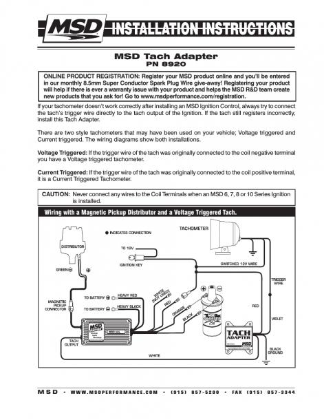 Msd 8920 Tach Adapter Wiring Diagram