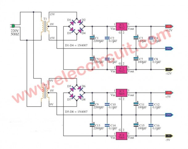 Multi Voltage Power Supply Circuit Using Ic