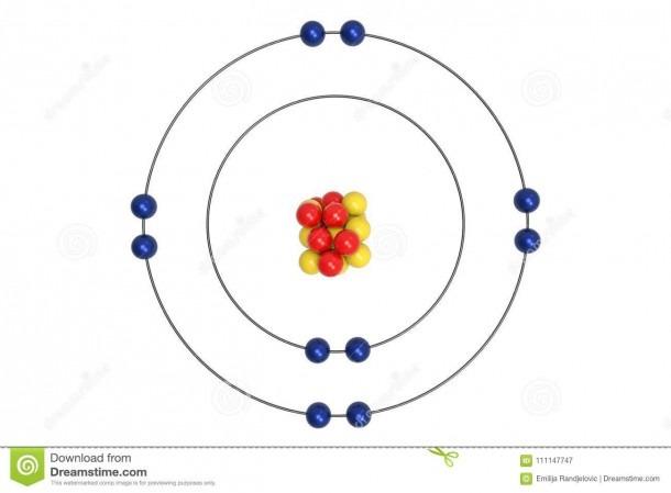 Neon Atom Bohr Model Proton Neutron Electron D Illustration