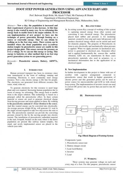 Ijre 2 Foot Step Power Generation Using Advanced Harvard Processor