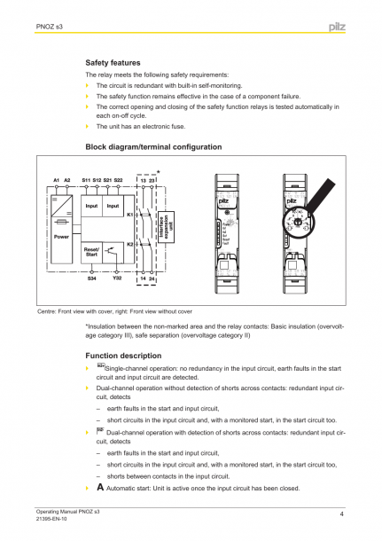 Safety Features, Block Diagram Terminal Configuration, Function
