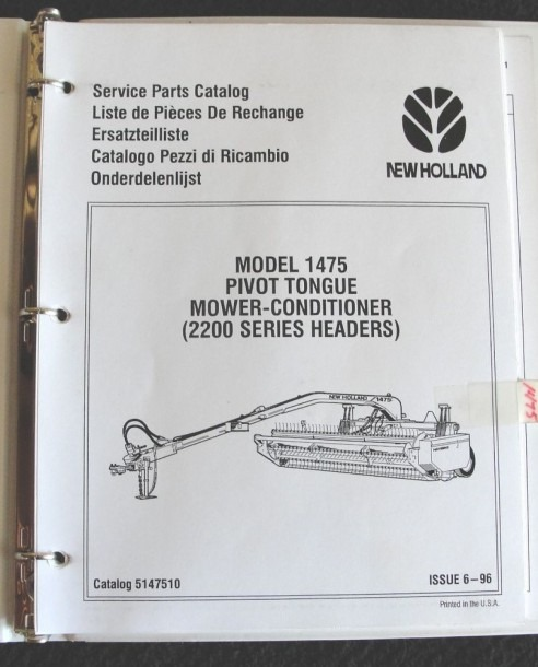 New Holland 1475 Pivot Tongue Mower Conditioner Parts Catalog