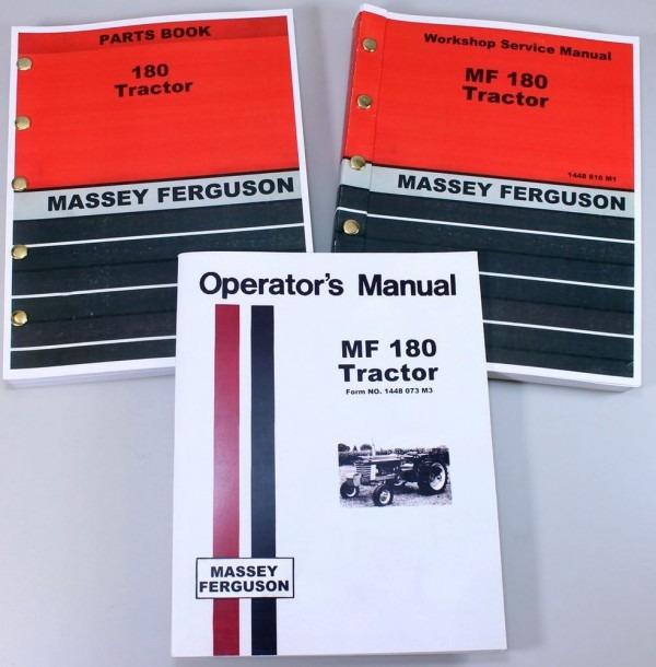 Set Massey Ferguson Mf 180 Tractor Service Repair Owners Operators