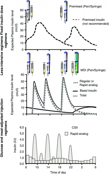 Schematic Representation Of Frequently Used Regimens For Insulin