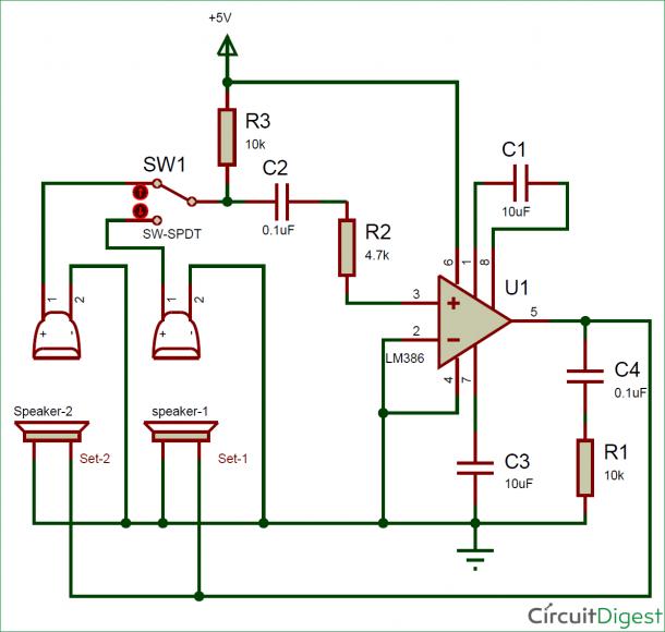 Simple Two Way Intercom Circuit Diagram