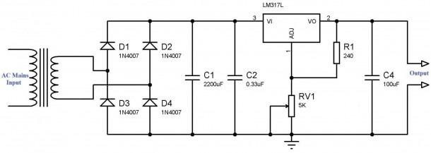 Variable Power Supply Using Lm317 Voltage Regulator