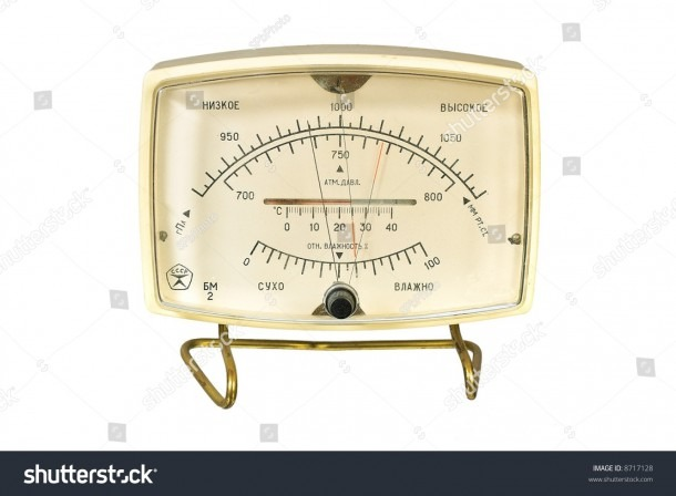 Household Aneroid Barometer Hygrometer Thermometer Isolate Stock