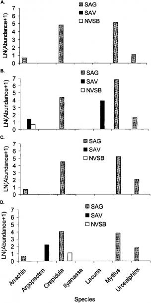 Total Abundances (ln(abundance+1)) Of Individual Mollusk Species