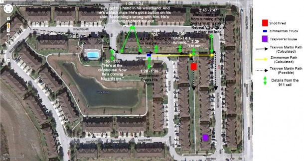 Trayvon Martin George Zimmerman Crime Scene Map Analyzed
