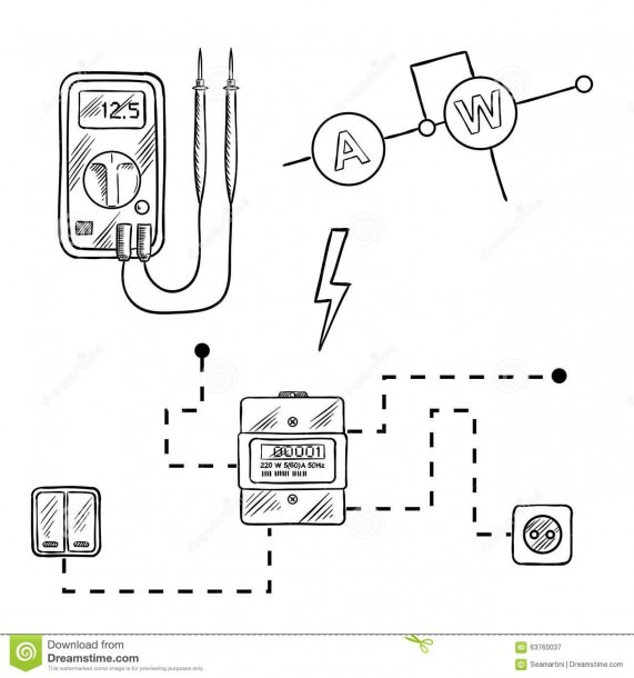 Voltmeter, Electricity Meter And Electrical Circuit Sketch Stock