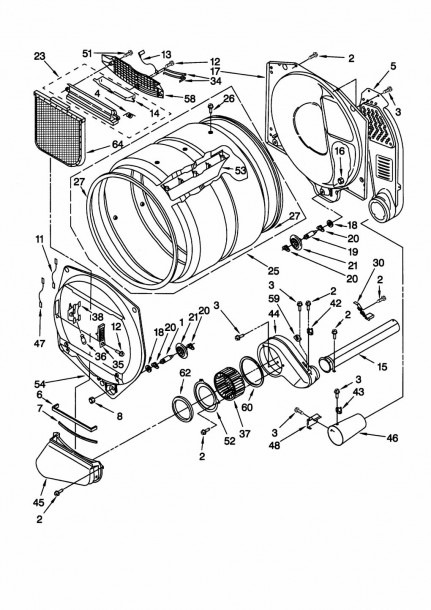 whirlpool dryer diagram of parts