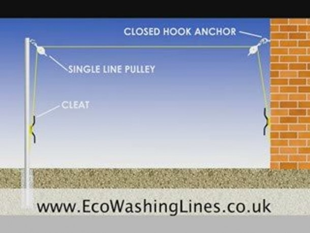 Post To Wall Pulley Washing Line
